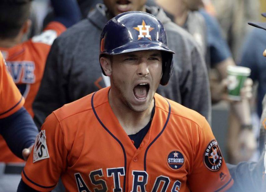 Houston Astros' Alex Bregman reacts