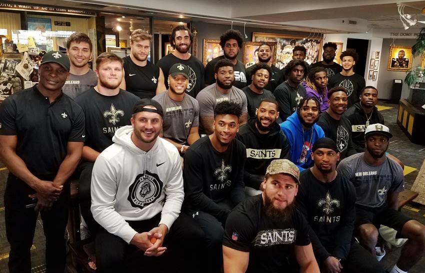 Saints rookies at team Hall of Fame